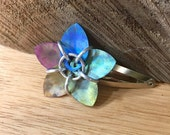 Rainbow Watercolor Titanium Scale Flower Barrette