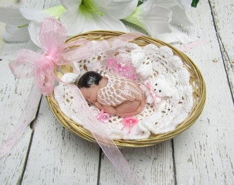 """2.5"""" Angel Baby with Black Hair in Basket"""
