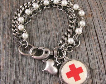 Nurse Themed Jewelry - Red Cross Pin Back Multi-Chain Charm Bracelet - Nursing Theme - Gift for Nurse - Graduation Gift for Nurse