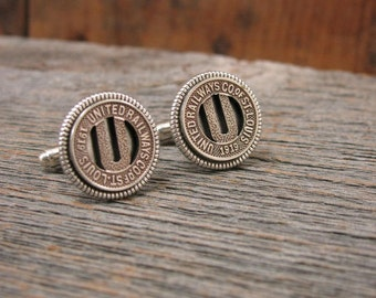 Transit Token Jewelry - Men's Cufflinks - Gift for Man - Authentic United Railways of St. Louis Transit Token Cuff Links - Gateway City