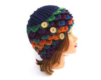 Crochet Cloche - Crocodile Stitch Hat With Buttons - Rainbow Cloche - Wool Headwear - Women's Hat - 1920s Cloche Hat - Crochet Accessories