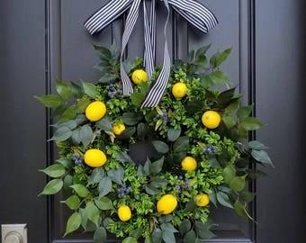 Taste of Summer, Lemons Wreath, Yellow Lemons Wreath, Boxwood and Lemons, Blueberries and Lemons, Summer Door Wreaths, Front Porch Wreaths