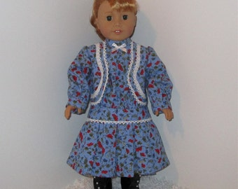 """Blue 1920s Historical Dress, Fits 18"""" Dolls // AG Doll Clothes, AG Doll Dress, American Girl Dress, Historical, Period, Low-Waisted. Jacket"""