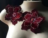 2 Burgundy Applique Flowers for Lyrical Dance, Garments,  Costume Design CA 802