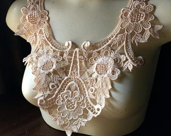 PEACH Lace Applique  in Venise Lace for Garments, Costume Design CA 903