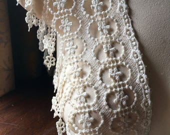 IVORY Fringe Lace for Bridal, Flappers, Roaring Twenties, Belly Dance, Costumes, Garments L 2054