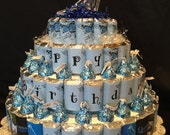 "2 Four Tier Personalized Candy Cake ""Mazel Tov Sam"""