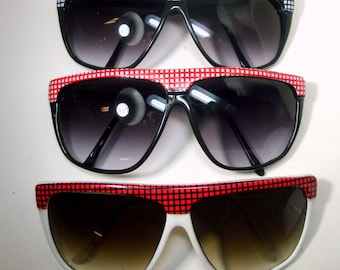 1970s Red White Black Sunglasses, Checkerboard Top, Unused, Just Opened a Stash Vintage Box from My NYC East Village Old Shop, PICK ONE