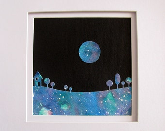 5X5 Watercolour Landscape Silhouette Against Black Night Sky with Moon / Turquoise, Teal, Touch of Violet / Mixed Media / Original Art /