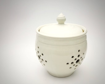 Handmade Pottery Garlic Keeper in Pure White