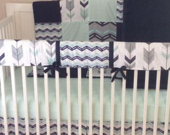 Baby Boy Crib Bedding Set Navy and Mint Arrows and Chevron READY TO SHIP