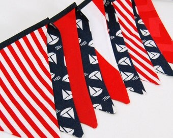 Nautical Bunting Banner, in Red & Navy Sailboats -- Baby Shower Decoration, Photo Prop Flags