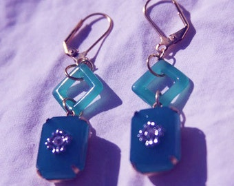 ART DECO Style CLASSICAL Dangle Earrings, Jadeite, Reproduction glass, rhinestones, gift for her