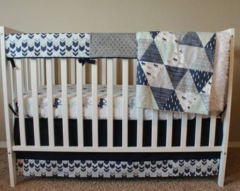 Custom Crib Bedding Set - Northern Lights in Navy, Aqua and Gray - Baby Boy Crib Bedding - Moose Antlers Outdoor Woodland