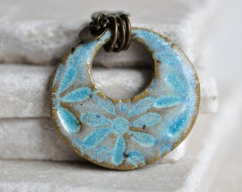 Pale Sea Blue Flower Ceramic Pendant, ceramic jewelry, stoneware clay with a frosty glaze, for your soft and feminine side