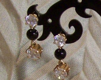 Cubic Zirconia and Black Onyx Dangle Earrings - Goldtone Setting