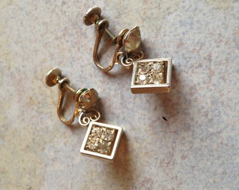 Sparkly Goldtone Dangle Rhinestone Earrings
