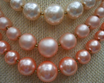 Vintage pearl necklace 3 strands orange peach Japan choker wedding jewelry pearls retro