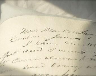 Linen Colorblock Script Pillow