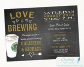Coffee Bridal Shower Invitation | Couples Bridal Shower Invitation | Love is Brewing, coffee, chalkboard, Perfect Blend | Printed or Digital