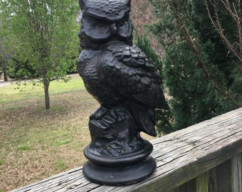 Vintage Large Ceramic Black Owl Figurine Statue--Wise Old Owl or Spooky Gothic Owl-Creepy Eyes-Owl Perched on Log Branch--Mantle Group Decor