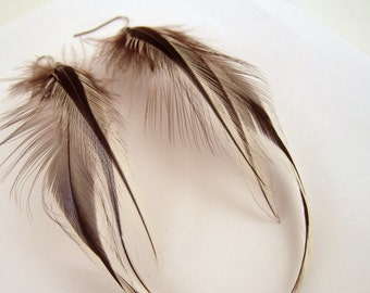 Natural Feather Earrings silver badger natural