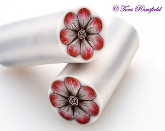 Black and Red Flower Polymer Clay Cane, Raw polymer Clay Cane, Millefiori Polymer Clay