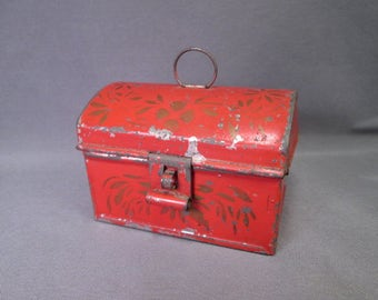 Antique Miniature Tin Document Box - Folk Art - Red with Stenciling