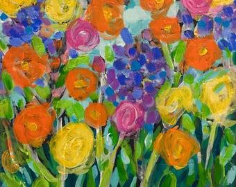 "April's Flowers II - Original Acrylic Oil Encaustic Floral Painting - 8""x 8"""