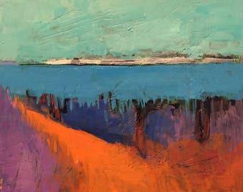"""Cloud Horizon - Original Acrylic Oil Encaustic Landscape Painting - 8""""x 8"""""""