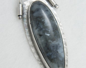Gray Agate Cabochon, Sterling Silver Pendant, OOAK, Artisan Made