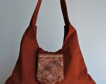 Suede Leather Rust Hobo Bag