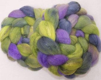 Hand dyed spinning wool, roving, British Shetland, Tussah Silk, hand painted combed top, 104g, spin, felt, Fibre Fiber, colour; Sorenata
