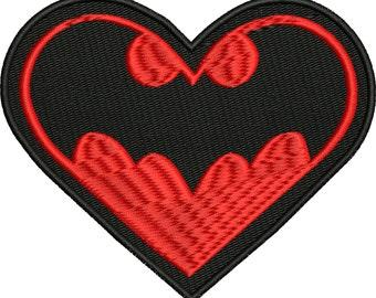 Bat Heart machine embroidery