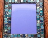 Blue Metallic Mosaic Picture Frame (holds a 8 x 10 photograph)