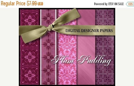 50% Off Entire Shop- Digital Papers - PLUM PUDDING - 12x12 Expertly Designed Photography Backdrops for Photographers and Scrapbookers.