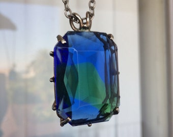 Vintage Big Blue and Green Cut Glass Stone Necklace with Chunky Pendant 60's 70's Costume Fashion Jewelry