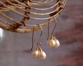 Gold earrings, Natural Pearl Clusters, Gift for wife, One of a kind jewelry, classic gold pearl earrings, gift under 50 for her