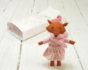 Felt stuff animal fox the little prince fox hand made doll in matchbox bed pink felt christmas stocking kit tiny small fox stocking stuffers