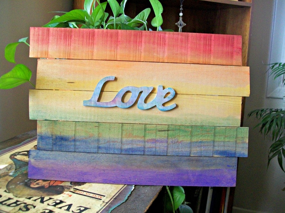 Rainbow Flag Pride Wall Art Gay Pride Decor Rainbow Wood