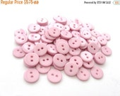 ON SALE Pink plastic buttons 10mm - Pack of 50 small sewing button or scrapbooking
