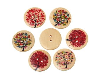 Seasons Trees wood sewing buttons - 6 Mixed Patterns craft buttons (BB1005M)