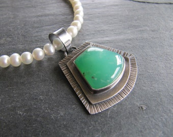 Chrysoprase and Pearl Necklace with Oxidized Sterling Silver