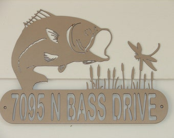Bass Personalized ADDRESS / NAME PLAQUE Garage Decor Hunting Cabin Fish Fisherman