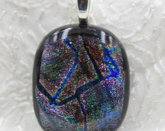 Zigzag Fused Dichroic Glass Pendant