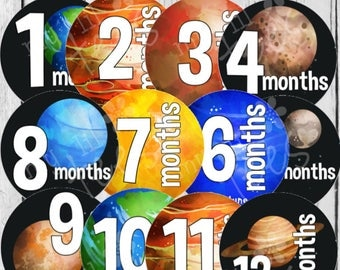 MONTHLY IRON ONS Decals or Monthly Stickers- 12 Monthly iron on heat transfers - for Baby - Solar System Planets(Style#C16)