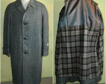 38 50s Vintage Men's Harris Tweed Overcoat Hand Woven Gray Tweed 50s Top Coat Deadstock New Old Stock nos