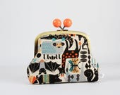 Metal frame clutch bag - Animal zoo - Color bobble purse / Japanese fabric / animals / orange gray black teal / Kawaii