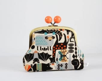Metal frame clutch bag - Animal zoo - Color bobble purse / Japanese fabric / animals / orange gray black teal / Kawaii