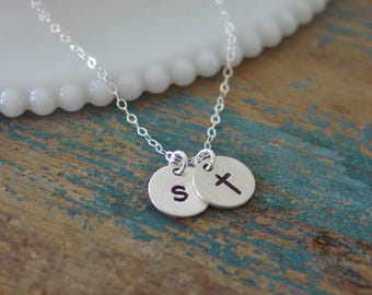 Tiny Sterling Silver Cross Necklace,Personalized Initial Charm,Hand Stamped,First Communion Gift,Confirmation Gift,Baptism,Little Girl Cross